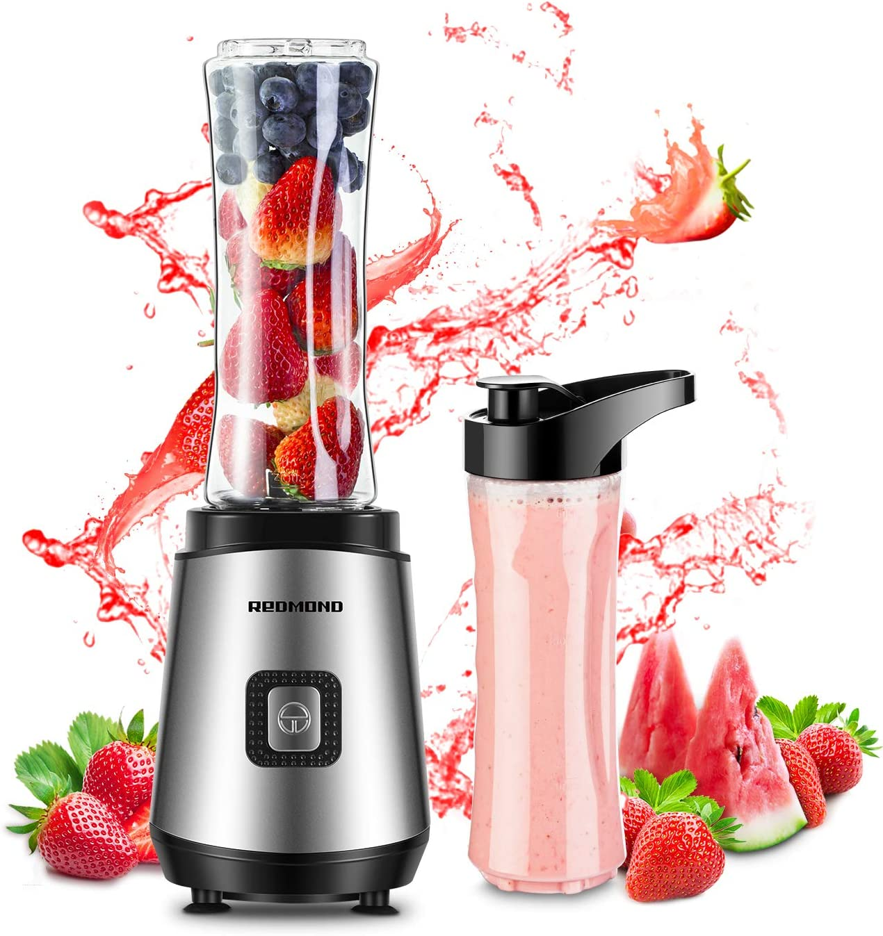 Redmond Smoothie Blender 20000 RPM Countertop Blender Personal Size with 20 oz Portable Bottle for Milk Shakes Fruit Vegetable 300W BPA Free