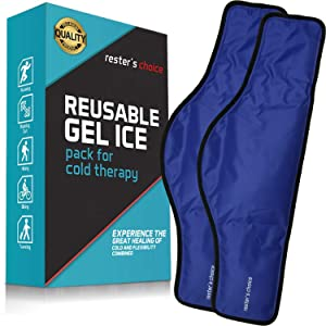 Cold Therapy Gel Pack - Ice Pack for Neck and Shoulders (23 x 8 x 5 Inch - Pack of 2) - Reusable Freezer Gel Pad for Swelling, Injuries, Headache - Blue Cold Compress Pack