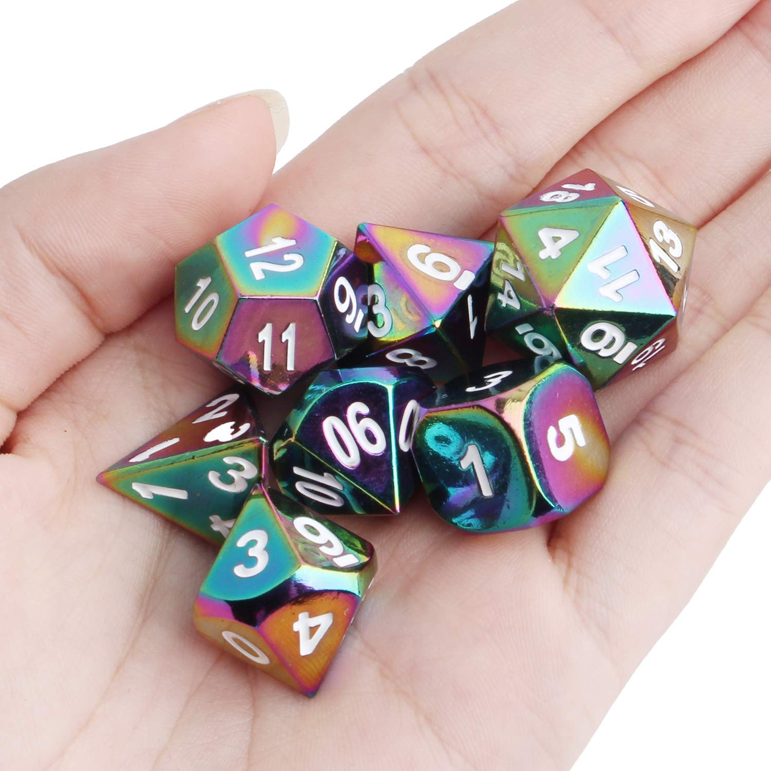 Outee 7 Pcs Metal Dice Set Solid Polyhedral Metal Dice Dnd Game Dice Rainbow D4 D6 D8 D10 D12 D20 Dungeons Dragons DND RPG MTG Table Games Math Teaching with Drawstring Pouch