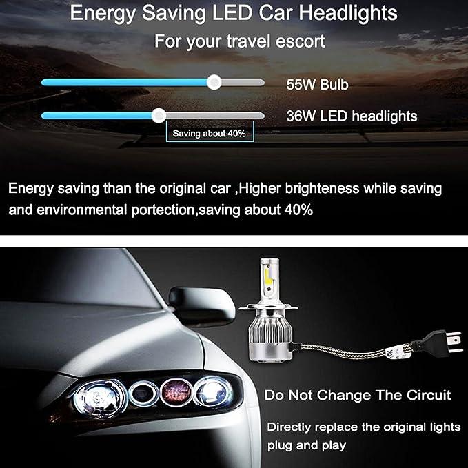 Amazon Com Tripcraft Led Headlight Conversion Kit H4 36w Car