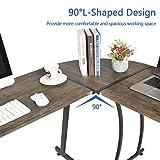 GreenForest L-Shaped Corner Desk Gaming Computer PC Writing Workstation for Home Office 3-Piece,Dark Walnut