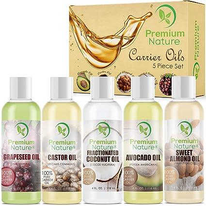 Juego de regalo de aceites naturales Premium Nature aceite de coco – aceite de ricino – aceite de ...