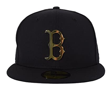 online store ce417 fdb20 New Era 59FIFTY Boston Red Sox Metal Logo Fitted Cap Navy Gold 7