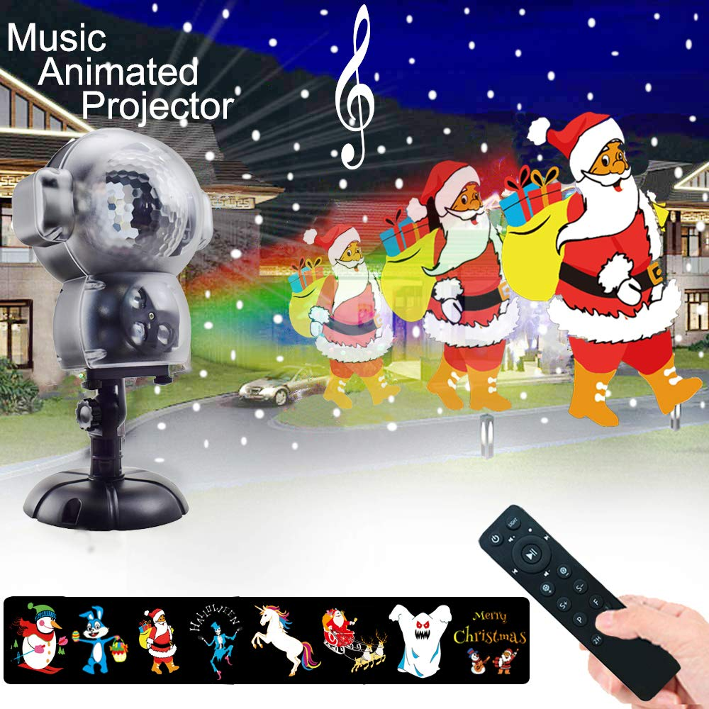 UPODA Christmas LED Snowfall Halloween Waterproof with Remote Control Timer and Music Player Anime Snow Light Projector for Outdoor Wedding Xmas Holiday Party Decorations