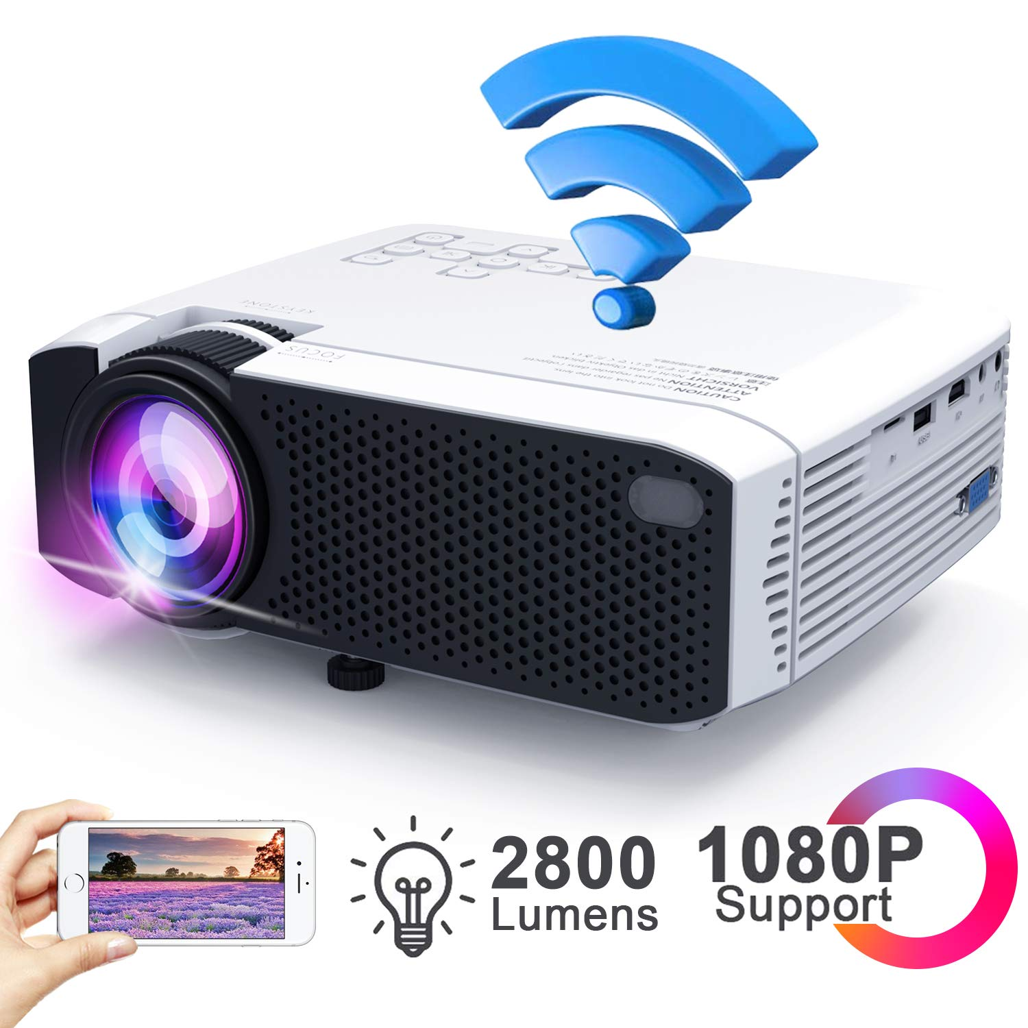 WiFi Mini Projector 2800Lux, Ifmeyasi Wireless Video Projector, Full HD 1080p Portable Movie Projector for Home Outdoors, USB Directly Connect for Smartphones, Support HDMI, VGA, TF Card, AV, USB
