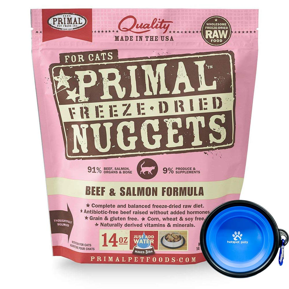 Primal Pet Food - Freeze Dried Cat Food Nuggets for Feline 14-Ounce Bag Bundle with Hotspot Pet Food Bowl - Made in USA (Beef & Salmon) by Primal