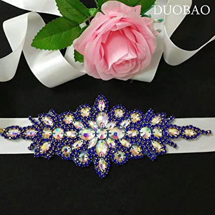 DUOBAO Rhinestone-Sash-Belt Silver Wedding Dress Sash Bridal Pearl Applique Crystal Trim Patches Bridal Belt Sash Bridal Applique Pearl