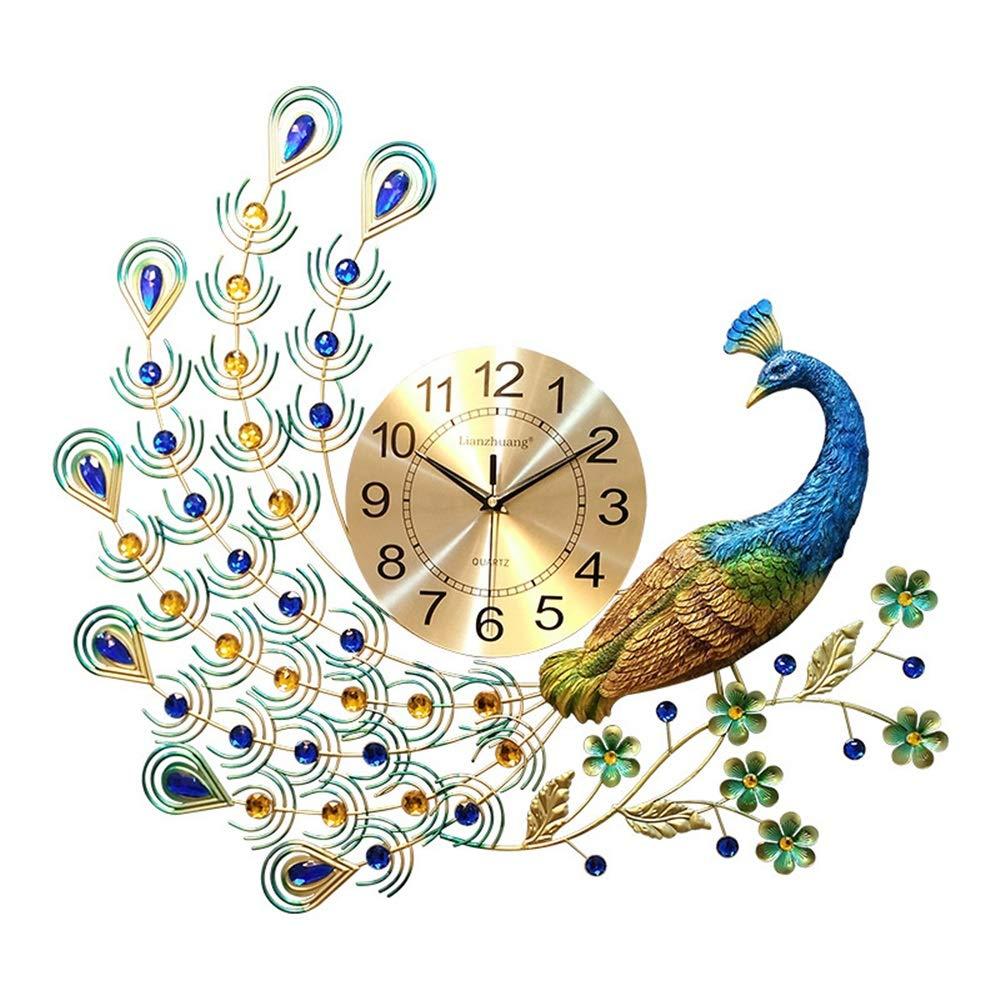 大規模な装飾的な壁の時計 ウォールクロックDIYラウンドウォールクロック3Dミラーピーコック形状ホームオフィスデコレーションギフト(電池なし) 楽しい (色 : ゴールド, サイズ : Free size) Free size ゴールド B07R9XG1LG