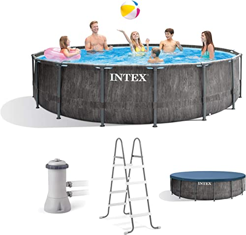 Intex 26741EH 15ft x 48in Greywood Premium Prism Steel Frame Outdoor Above Ground Swimming Pool Set