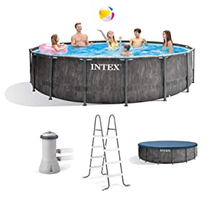 Intex 26741EH 15ft x 48in Greywood Premium Prism Steel Frame Above Ground Swimming Pool Set with Cover, Ladder, Pump