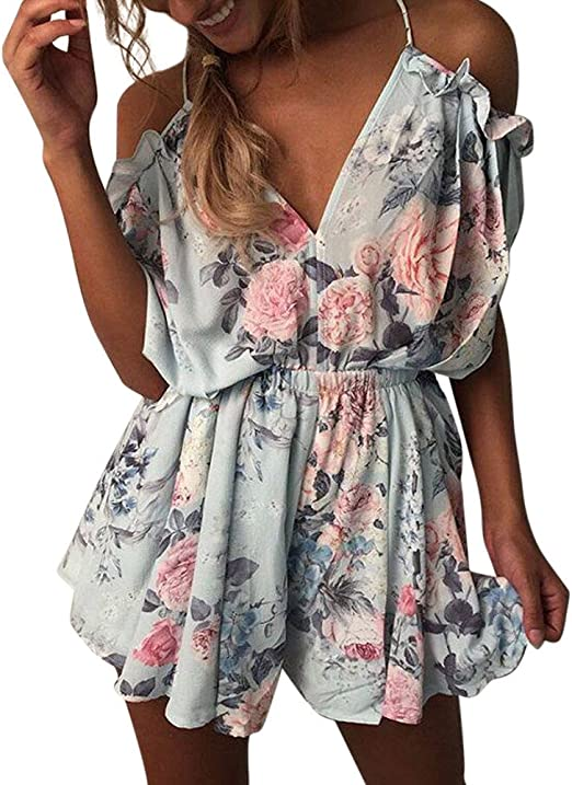 Dresses for Women Womens Summer Cold Shoulder Dress V-Neck Flare Sleeve Lace-up Printed Boho Casual Short Cover up