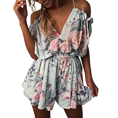2aaca0ec7481 Amazon.com  Handyulong Women Rompers Casual Off Shoulder Backless Floral  Print Jumpsuits Shorts Playsuit Bodysuits for Teen Girls  Clothing