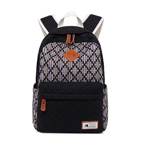 Mochila de lona Mujeres Volver a la escuela Mochilas para adolescentes Mochila de mochila escolar Mochilas escolares para adolescentes Black 29x41x13cm: ...
