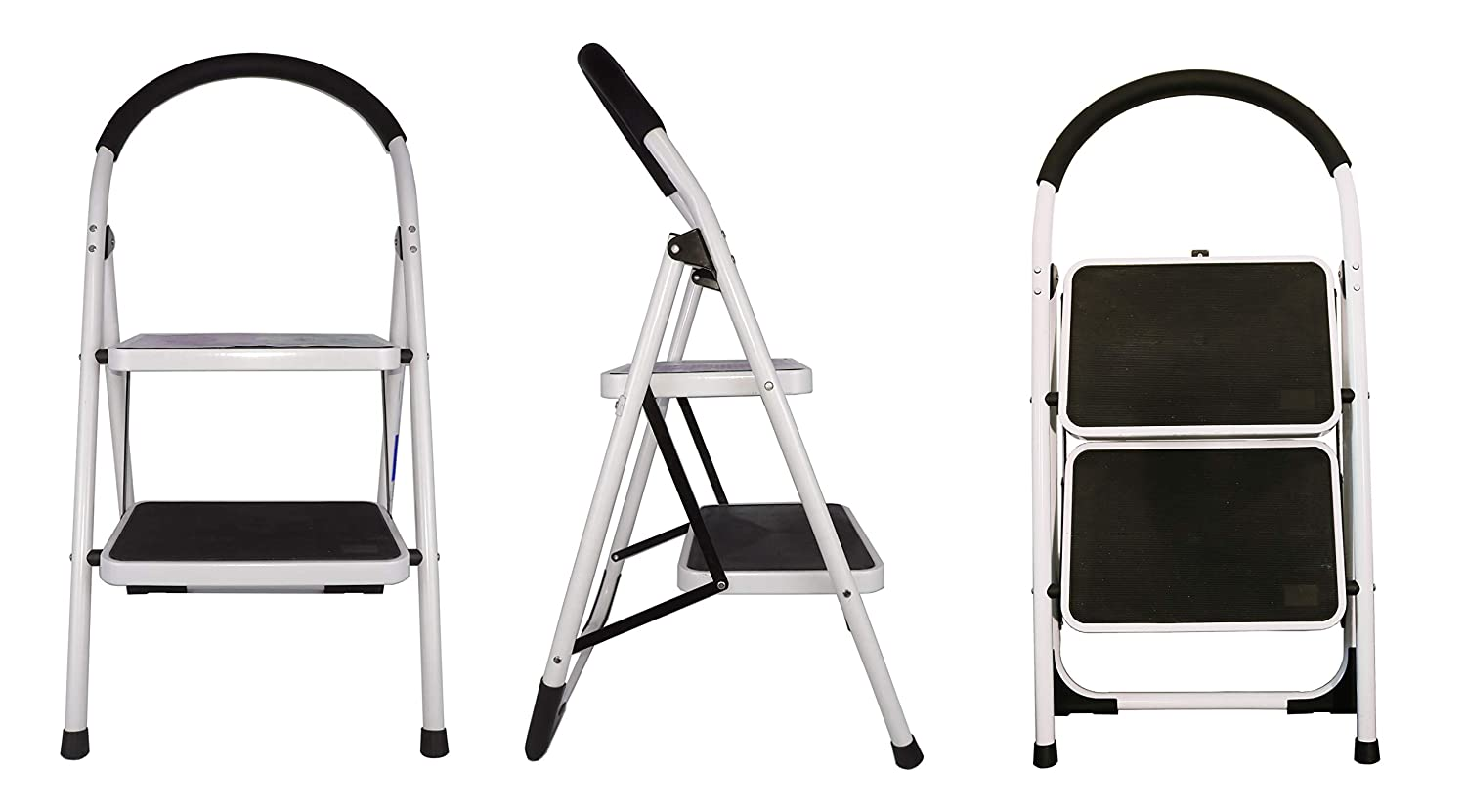 Steel Stepladders with Handgrip Anti-Slip Sturdy and Wide Pedal Steel Ladder 150KGS White and Black Combo 2-Feet 2 Step Ladder Folding Step Stool