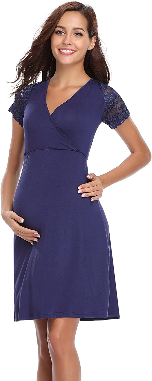 Aibrou Women's Maternity Dress/Nursing Dress/Breastfeeding Dress/Pregnancy Nightgown Womens Delivery Gown