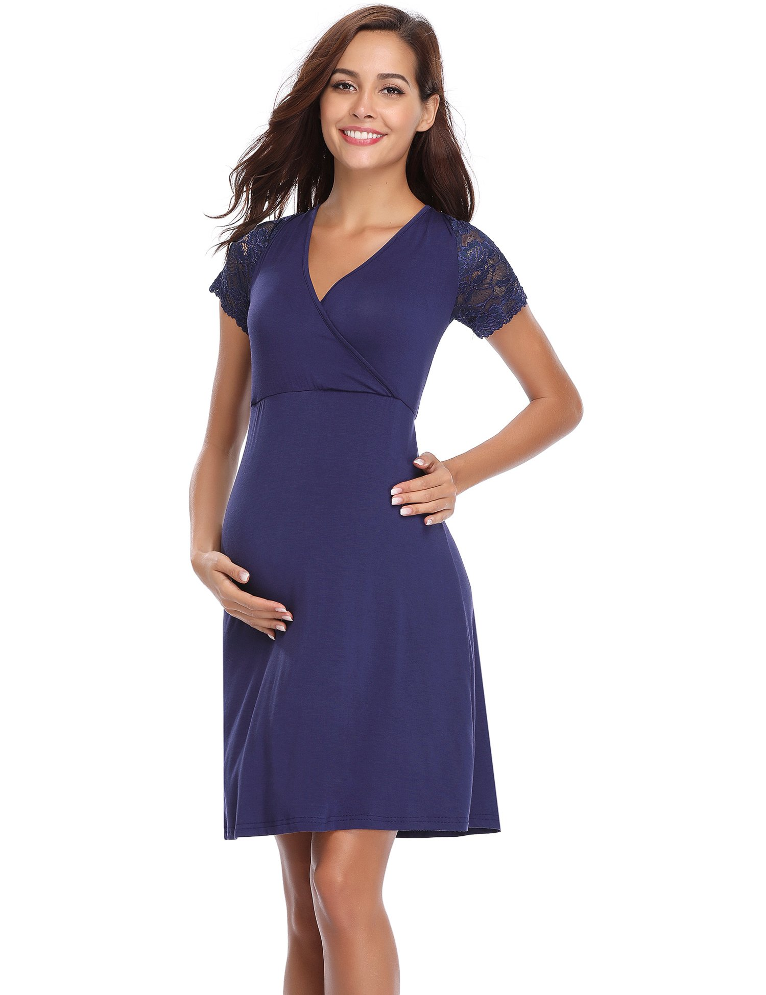 Aibrou Womens Maternity Dresses/Baby Shower Dress/Pregnancy Nightgown Womens Delivery Gown