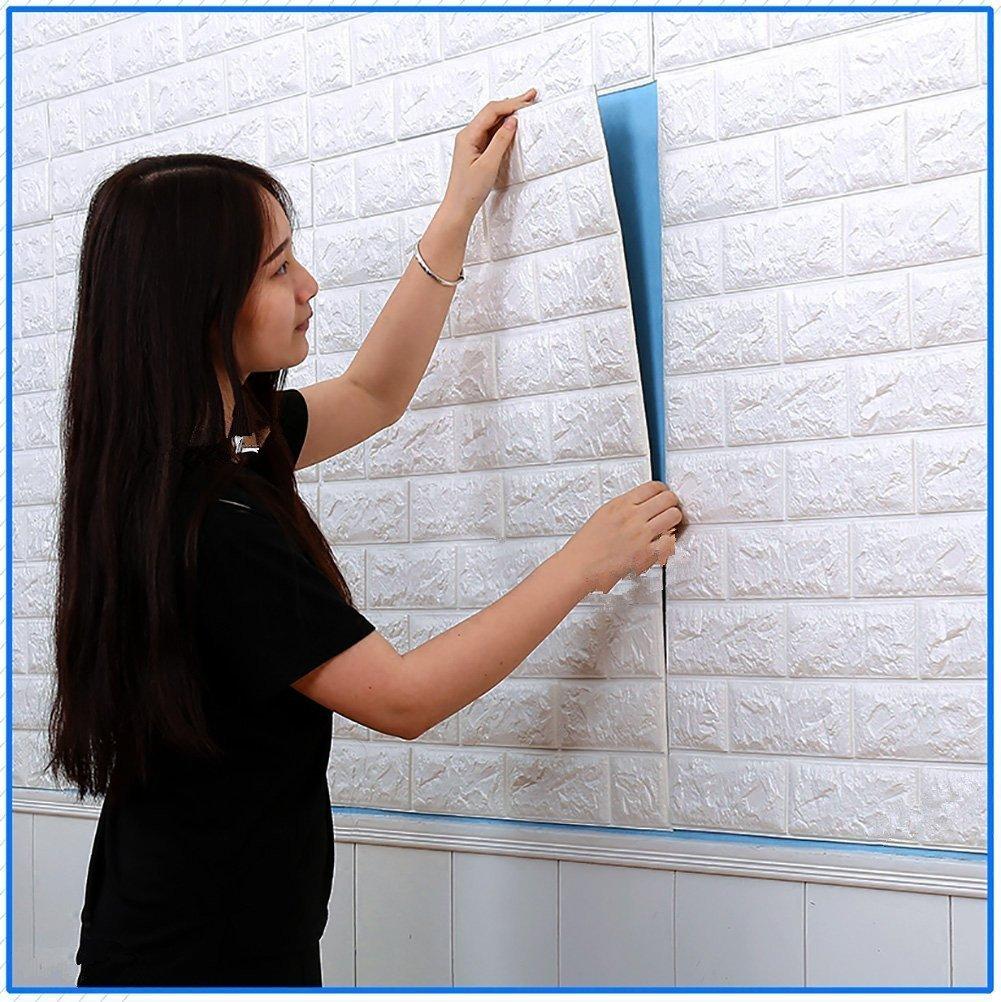 3D Brick WallPaper, SUNKAX 60x60cm PE Mousse DIY Stickers muraux Papier peint et imperméable à la brique pour la décoration, Protection pour enfants (10PCS)