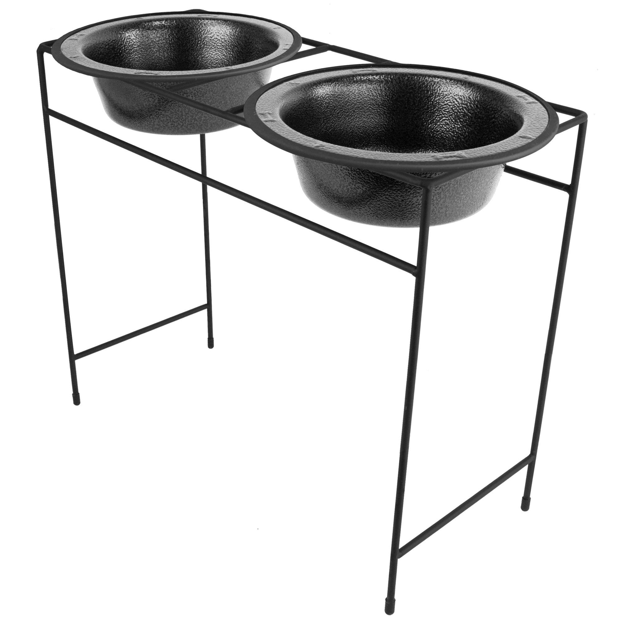 Platinum Pets Modern Double Diner, X-Large, Silver Vein