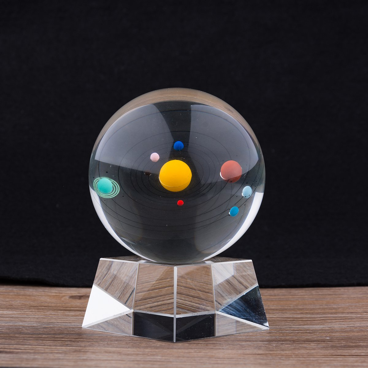 LONGWIN Solar System Model Crystal Ball 3D Clear 80mm (3.15 inch) Glass Planet Balls Photography with Crystal Base by LONGWIN (Image #1)