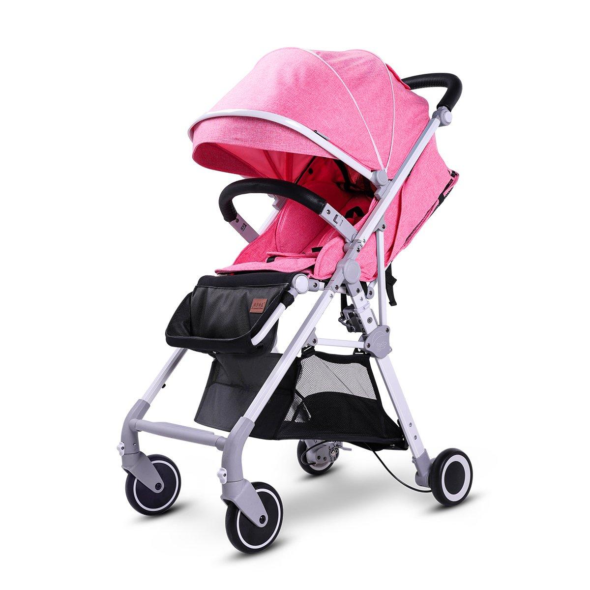 2 in 1 Baby Stroller Lightweight Stroller Adjustable Infant Pram Foldable Pushchair High View Baby Stroller With Storage Basket. (Pink)