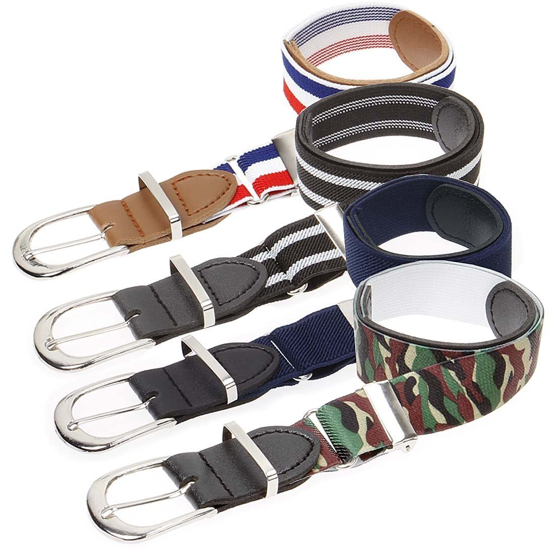 Bundle Monster 4pc Adjustable Elastic Band Boys Fashion Stretch Belts - Set 1, Patriotic