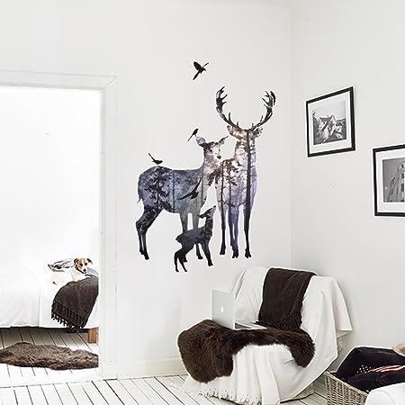 Nacnic Vinilo Decorativo Pegatina de Pared Adhesiva Familia de Ciervos Motivos Animales para salón, Habitaciones…