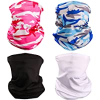 Yemo [4 Pack] Unisex Sun UV Protection Cooling Face Scarf Cover Mask Neck Gaiter, Headband Fishing Mask, Reusable…