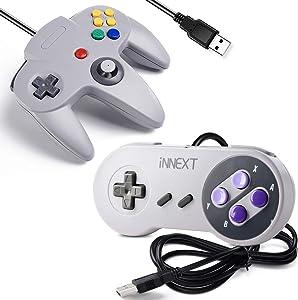 [USB Version] 2 Pack USB Classic Controller, iNNEXT USB N64 & SNES Controller Joystick for Windows PC MAC Linux Raspberry Pi 3 Sega Genesis Higan (Grey)