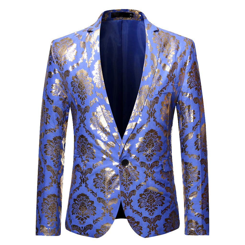 Mens Suit Jacket Slim Fit Shiny Hot Stamping Blazer Performance Tuxedo for Dinner Party Prom by WINJUD
