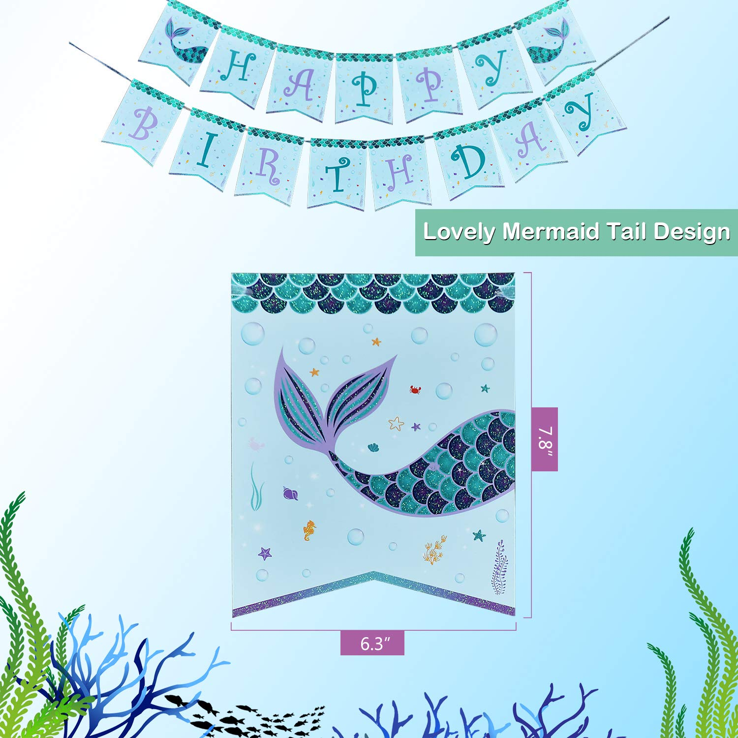 WERNNSAI Pool Mermaid Party Supplies Kit - Party Favors Girls Birthday Party Decoration Cutlery Bag Table Cover Plates Cups Napkins Straws Utensils Birthday Banner & Balloons Serves 16 Guests 169 PCS by WERNNSAI (Image #3)