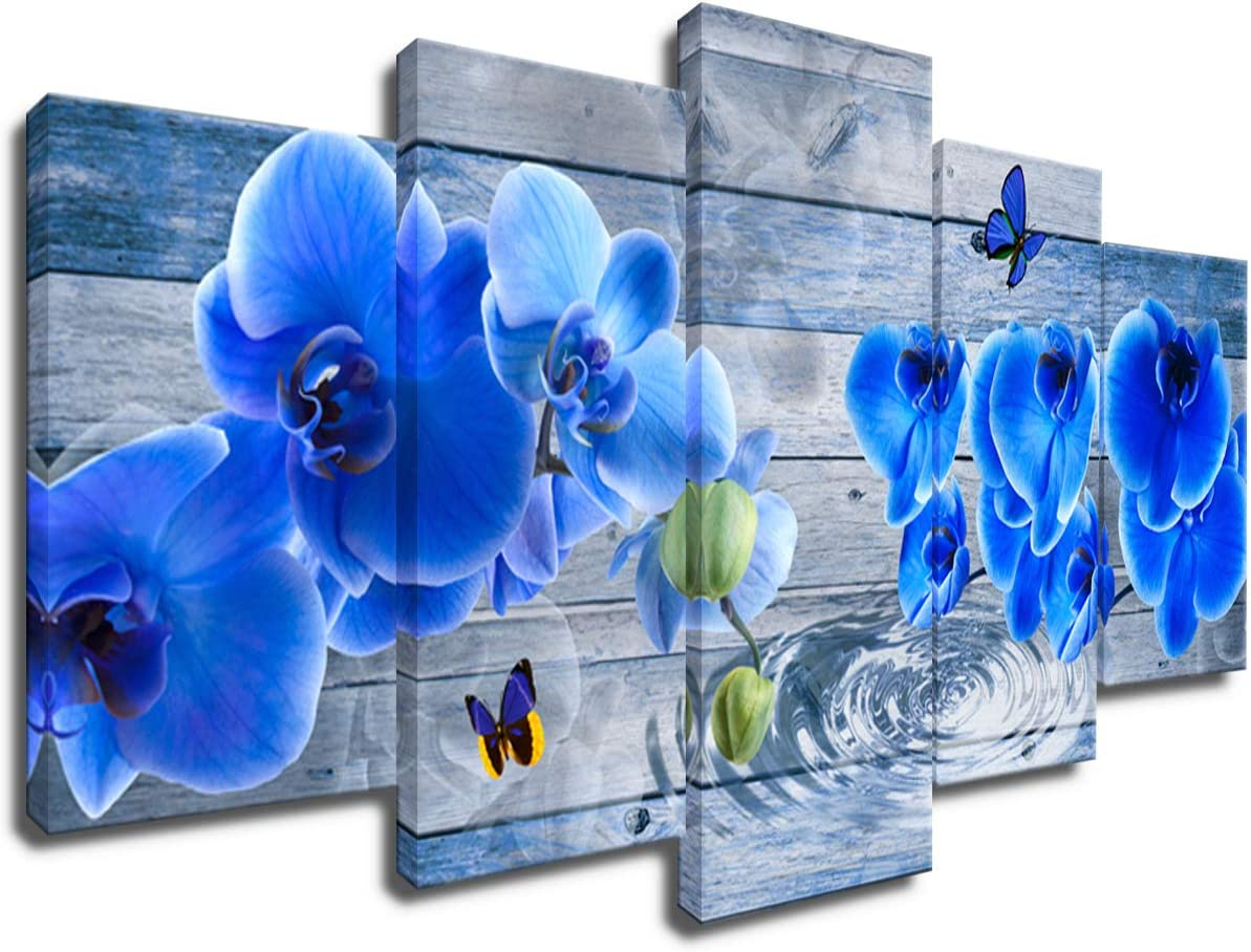 Blue Flower Canvas Wall Decor Orchid Print Art Modern 5pcs Floral Painting Home Decoration Framed 20x40