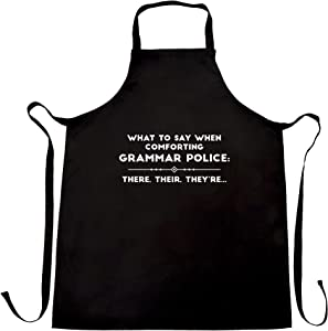 Pun Chef's Apron What To Say When Comforting Grammar Police Black One Size