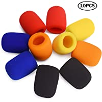 10 Pack Colorful Microphone Cover Handheld Stage Microphone Windscreen Sponge Cover Suitable for Karaoke DJ, Dance Ball, Conference Room, News Interviews, Stage Performance (10 Color)