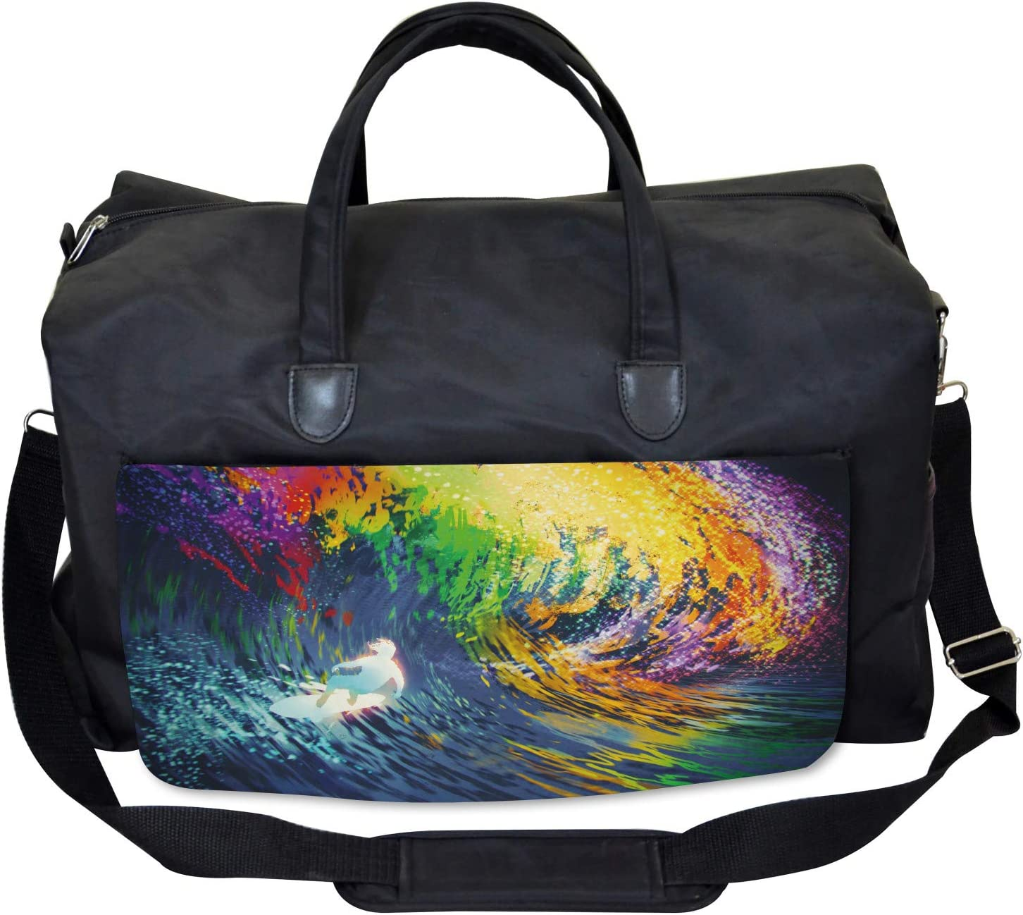 Exotic Surfer on Waves Large Weekender Carry-on Ambesonne Ocean Gym Bag