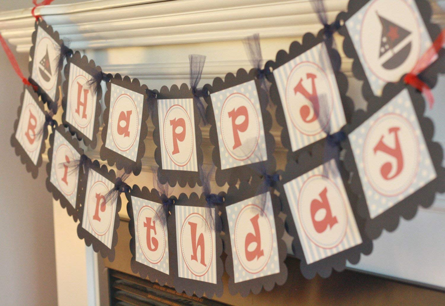 Nautical Sailboat Anchor Ship Wheel Red Banners Party Packages Tags 12 Door Signs Available Light Blue /& Navy Stripe Dot Birthday Cupcake Toppers