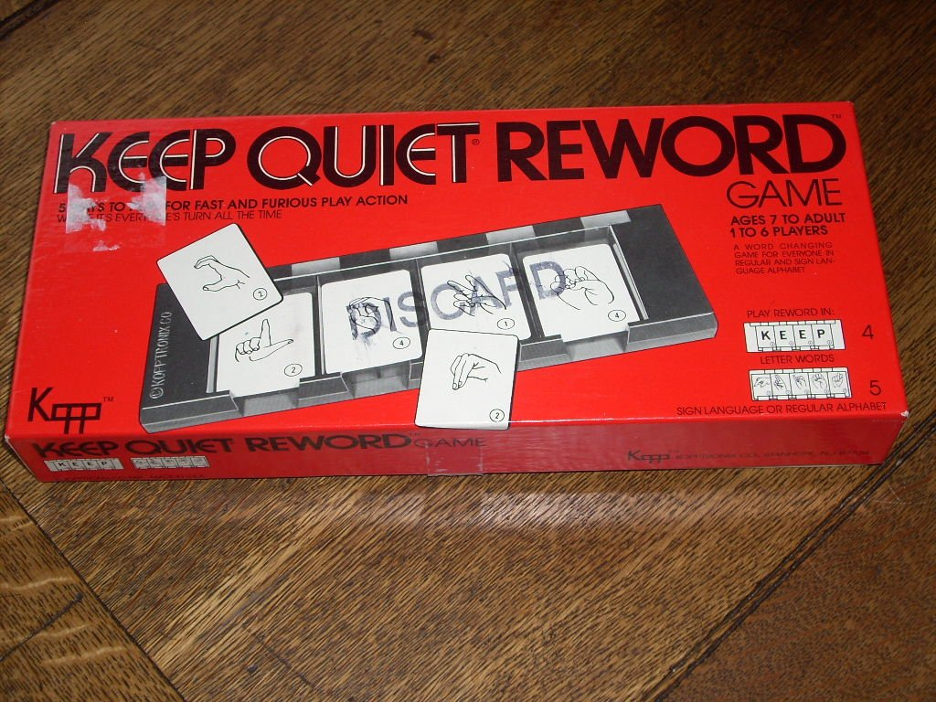 KEEP QUIET REWORD GAME 1981 - A word changing game for everyone in regular  and sign language alphabet.: Kipptronix Co: Amazon.com: Books