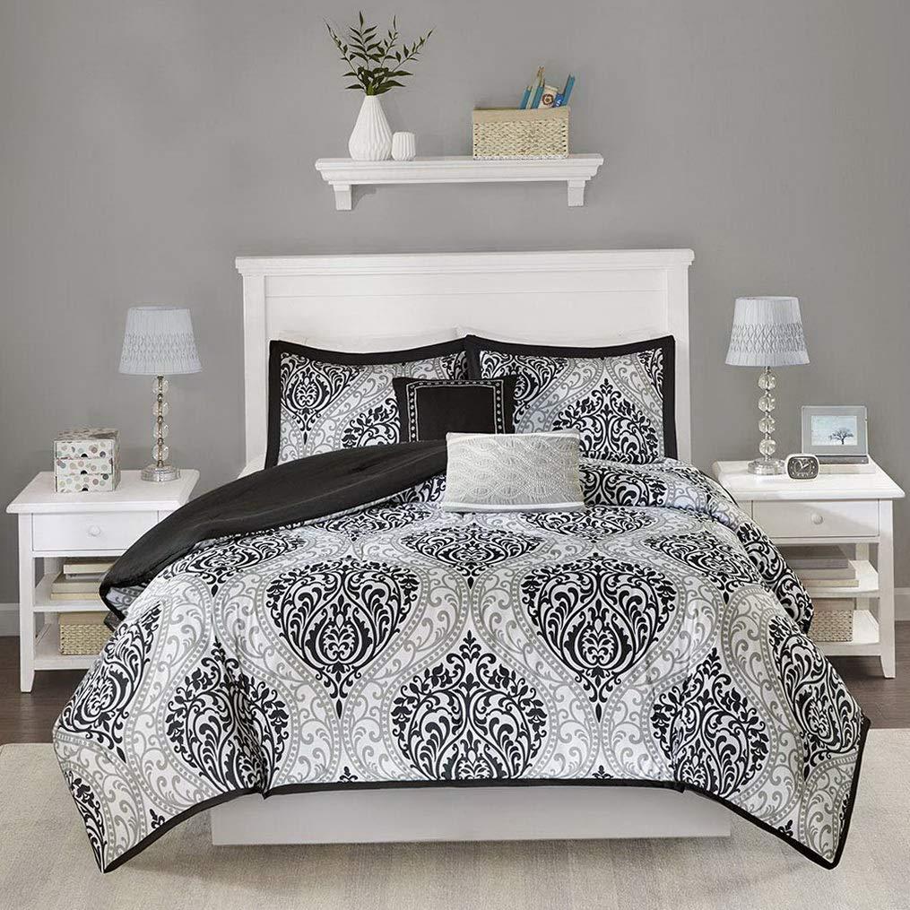 Hemau Senna Comforter Set Full/Queen Size - Black/Gray, Damask – 5 Piece  Bed Sets – All Season Ultra Soft Microfiber Teen Bedding - Great for Guest  ...