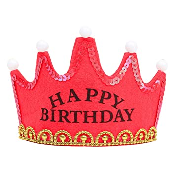 b394876a89e66 Amazon.com   LED Light up Princess King Happy Birthday Crown Cap Headband  Christmas Party size Happy Birthday (Red)   Baby