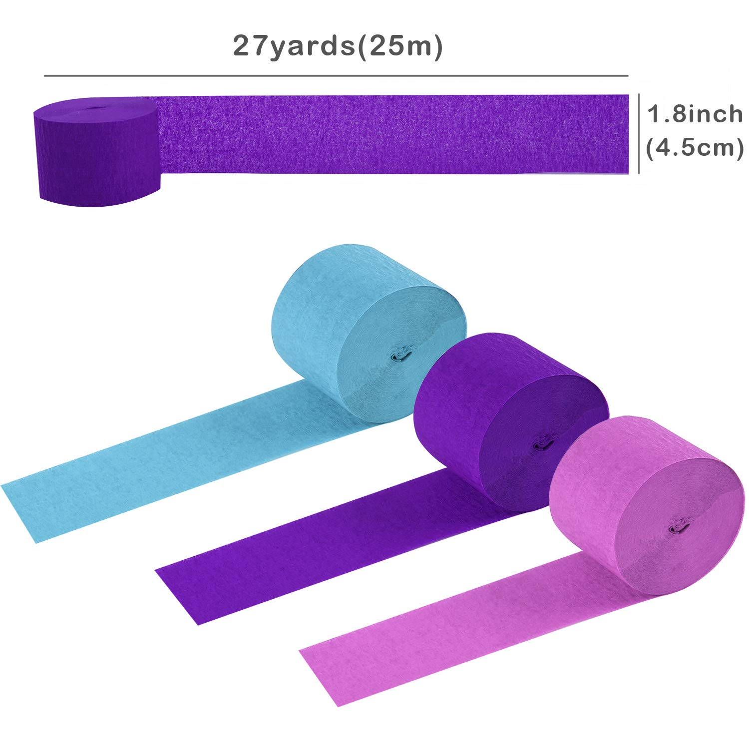 Teemico 12 Rolls Mermaid Crepe Paper Streamer Lavender Purple Blue Tissue Paper for Mermaid Party Birthday Wedding Baby Shower Decor and DIY Crafts