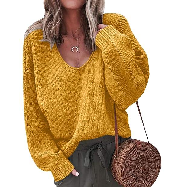 Jerseys de Punto Mujer Jersey Cuello V Sueter Grueso De Señora Oversize  Jerséis Manga Larga Jerseis Chica Sweaters De Mujer Suéter Pullover Tejido  Anchos ... def520878c89