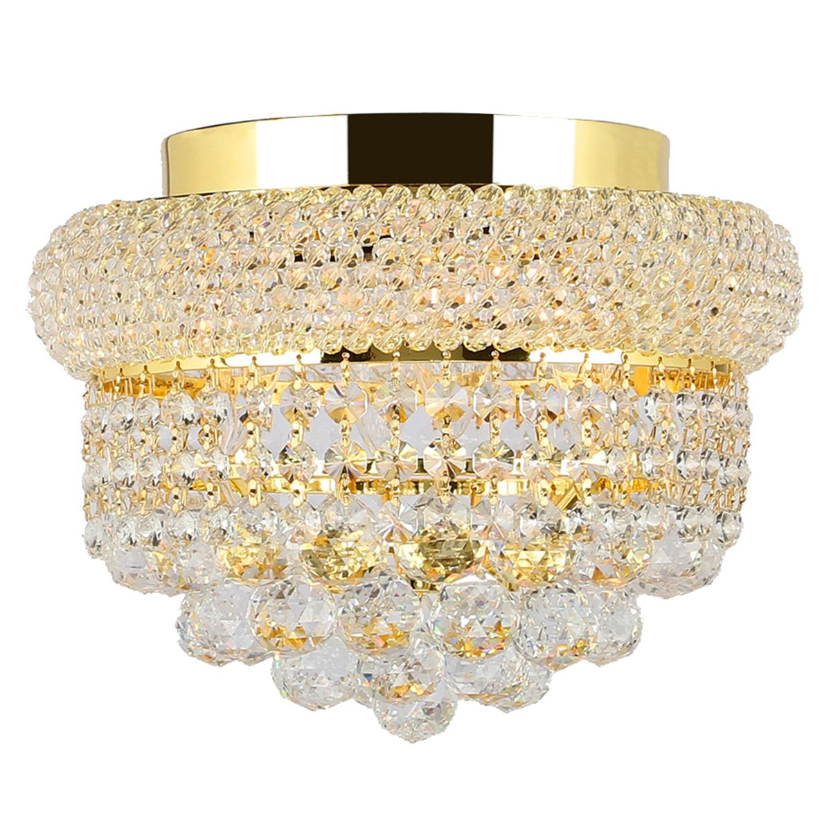 Worldwide Lighting Empire Collection 4 Light Gold Finish and Clear Crystal Flush Mount Ceiling Light 12 D x 6 H Round Small