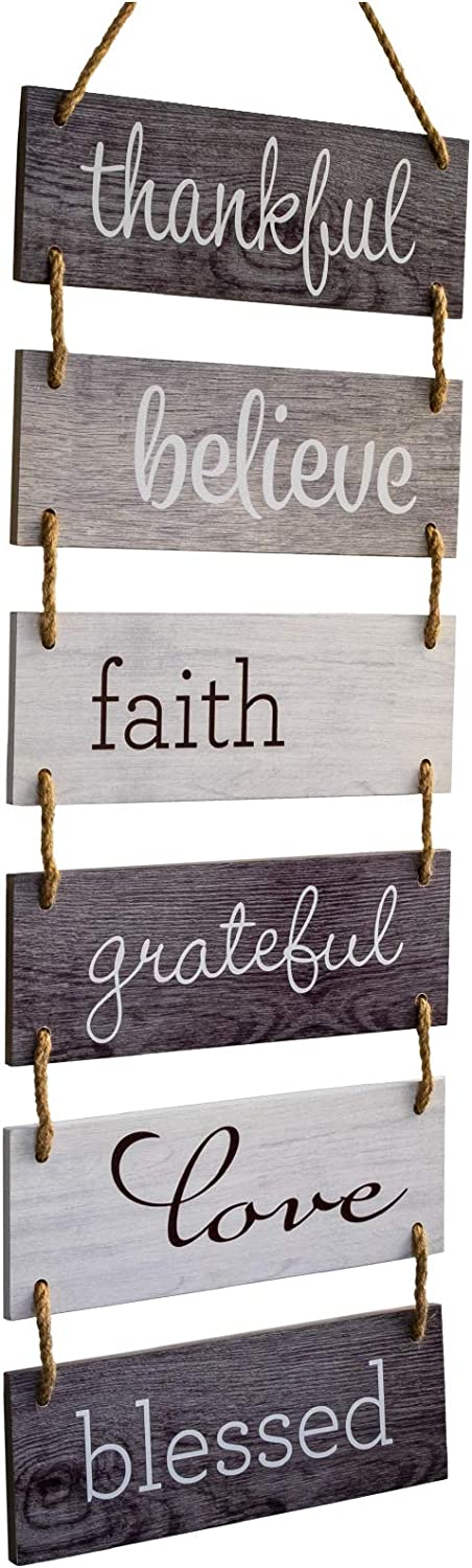 "Excello Global Products Large Hanging Wall Sign: Rustic Wooden Decor (Grateful, Love, Believe, Thankful, Faith, Blessed) Hanging Wood Wall Decoration (11.75"" x 32"")"