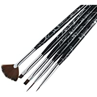 Winstonia 5pcs Nail Art Brush Detailer, Gel and Fan Brushes Set | Acetone Resistant Handle with Cuticle Pusher End | ROSE NOIRE