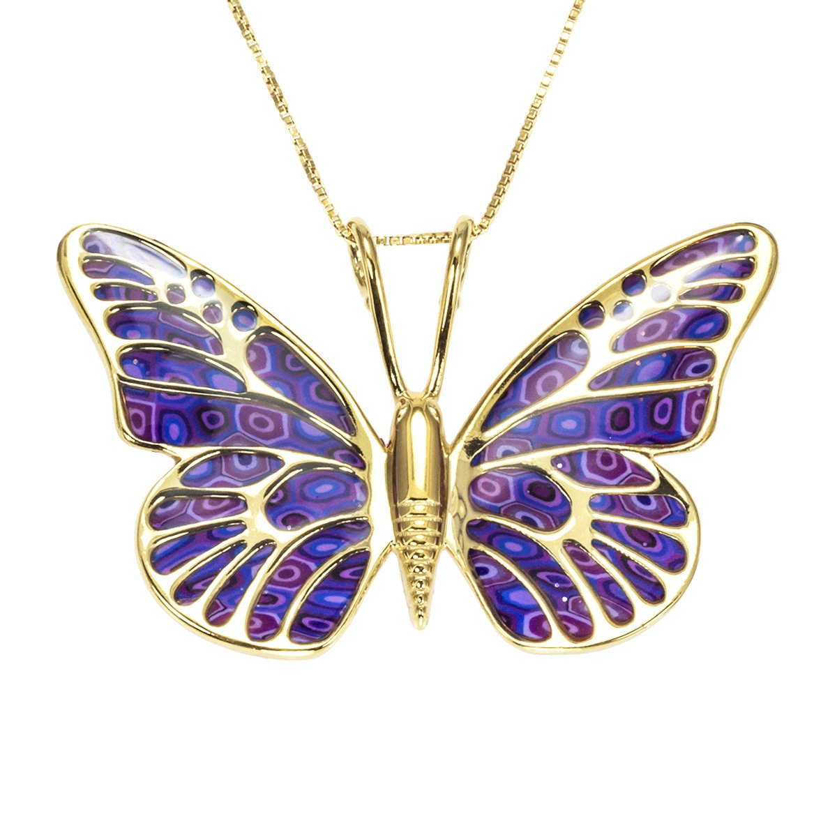 Gold Plated Sterling Silver Butterfly Necklace Handmade Purple Polymer Clay Jewelry, 16.5'' Gold Filled