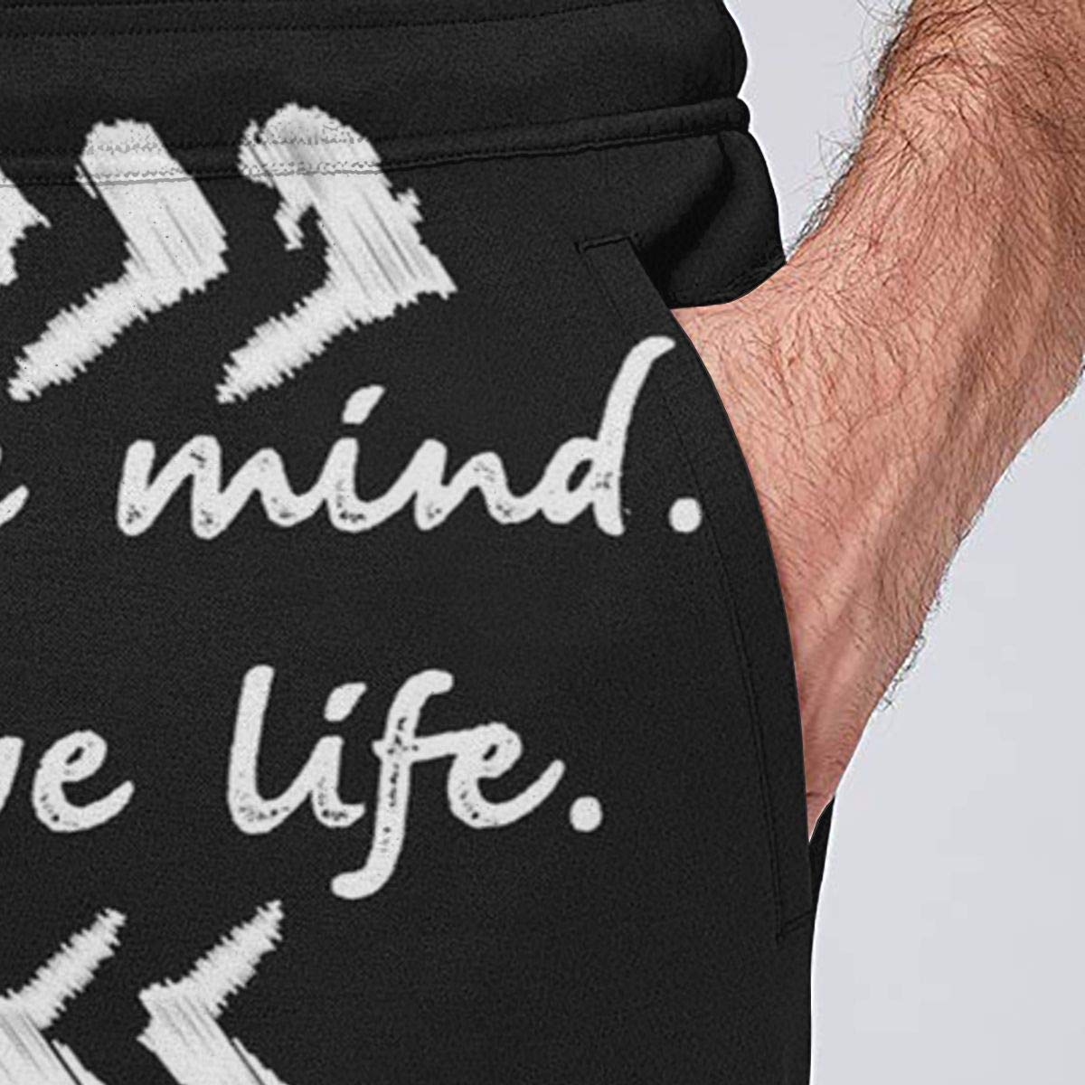 Men Quick Dry Jogger Sport Pants Positive Mind Positive Life Sweatpants with Side Pockets
