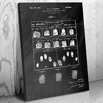 Amazon.com: Fingerprint Card Canvas Print, Detective Gift ...