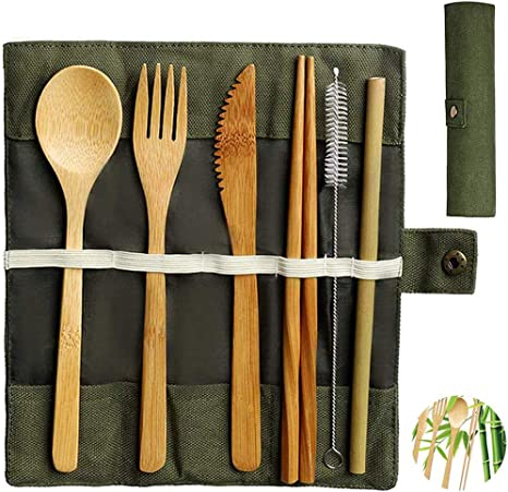 Juego de cubiertos de bambú, Juego de cubiertos de viaje, reutilizables portátiles Respetuoso con el medio ambiente Incluye Tenedor de Cuchara ...
