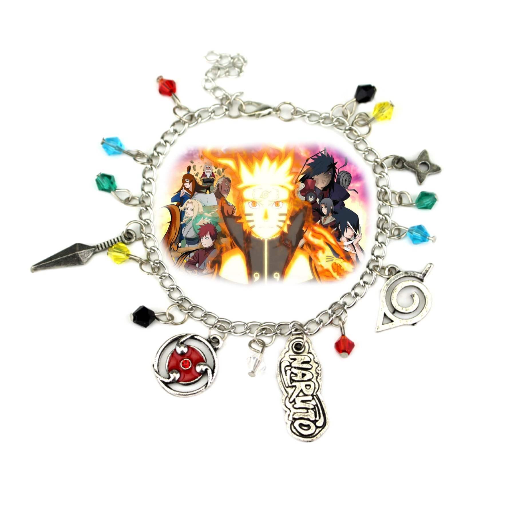 Naruto 5 Charms Lobster Clasp Bracelet in Gift Box by Superheroes