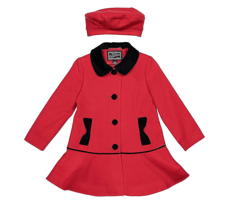 Rothschild LittleGirls Red Dress Coat Washable Wool with Matching Wool Beret