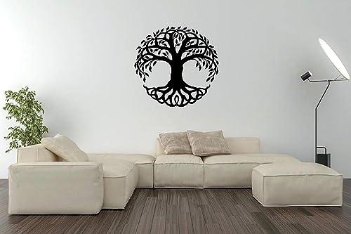 Steel Roots Decor Powder Coated Metal Black Tree of Life Wall Art Laser Cut Holes 18 inch